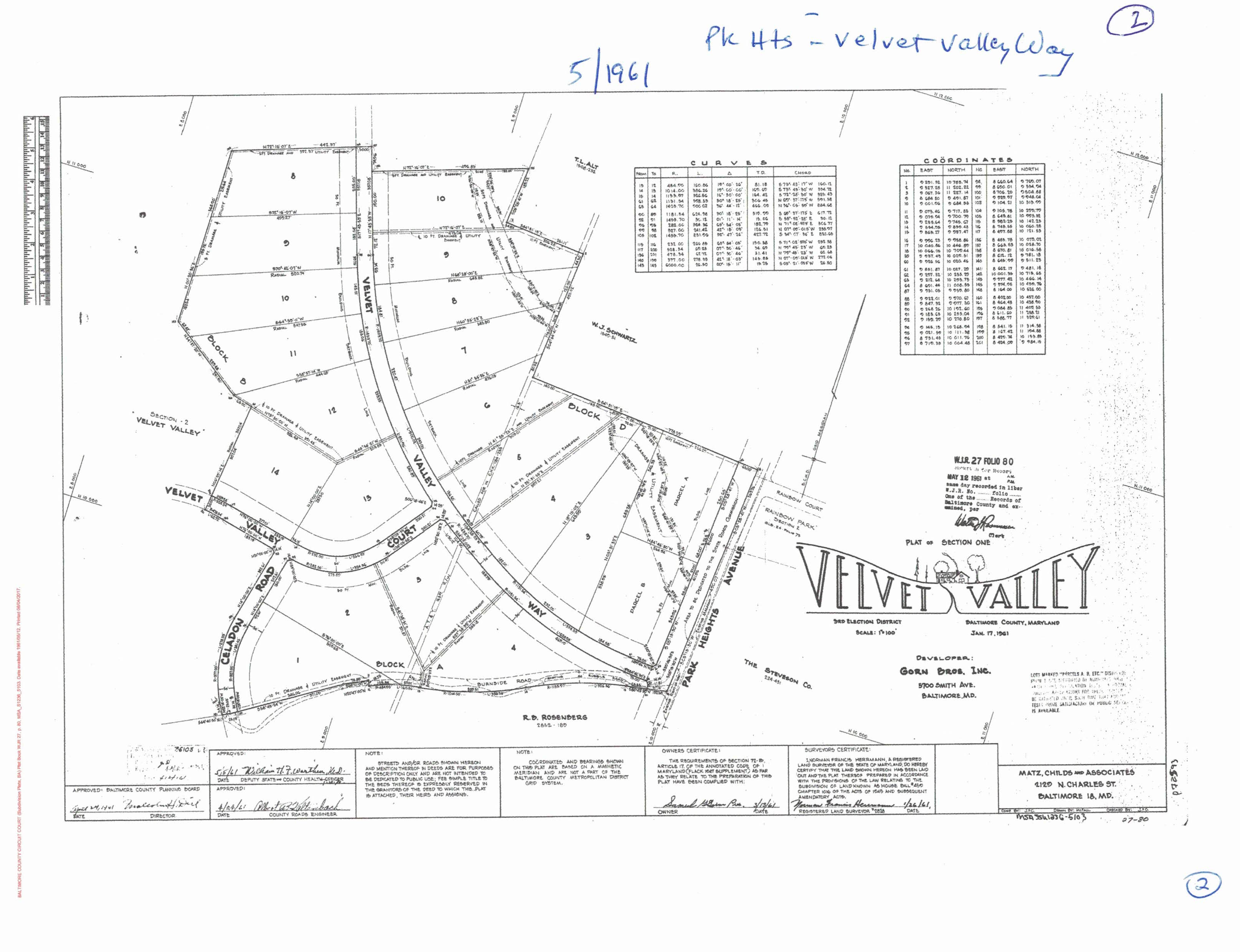 Early Velvet Valley Way approved development plan, May 1961